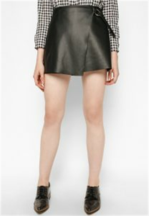 Flap leather skirt