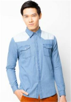 Denim long-sleeved shirt